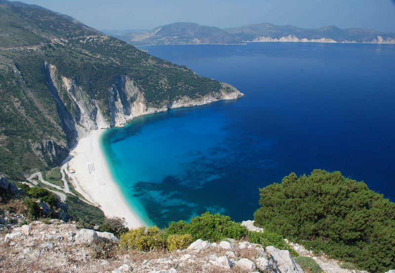 viagem grecia Praia de Myrtos, na Kefalonia