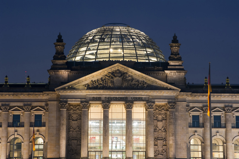 The Reichstag building at night