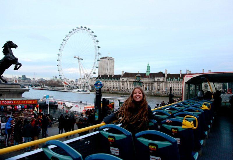 Pontos turísticos em Londres: A roda gigante London Eye.