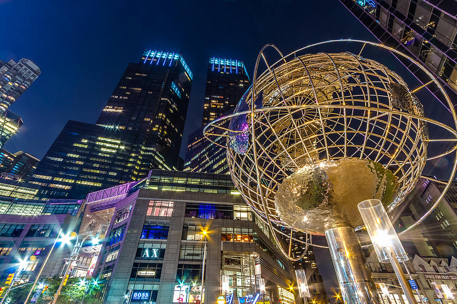 columbus-circle-globe-and-time-warner-towers-at-night-val-black-russian-tourchin