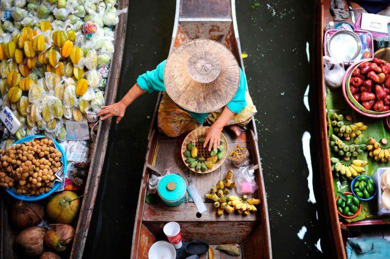 Viagem Tailândia e Sudeste Asiático bangkok mercado flutuante