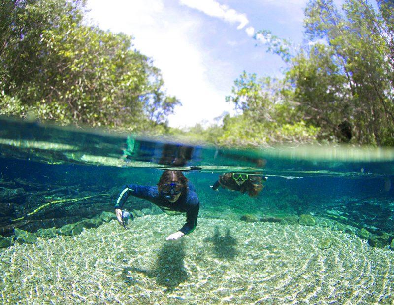 Lugares para viajar em agosto: os rios de Bonito são impressionantes.