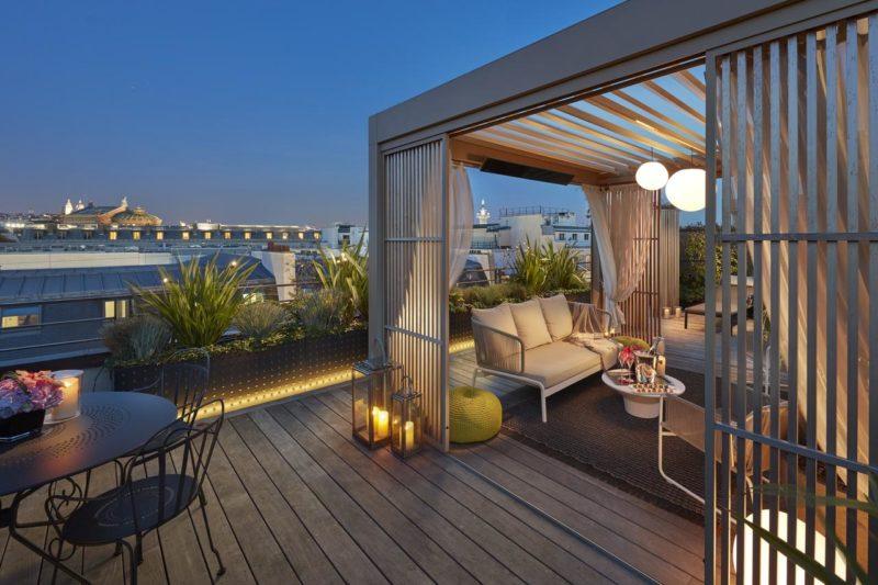 O terraço do Mandarin Hotel.