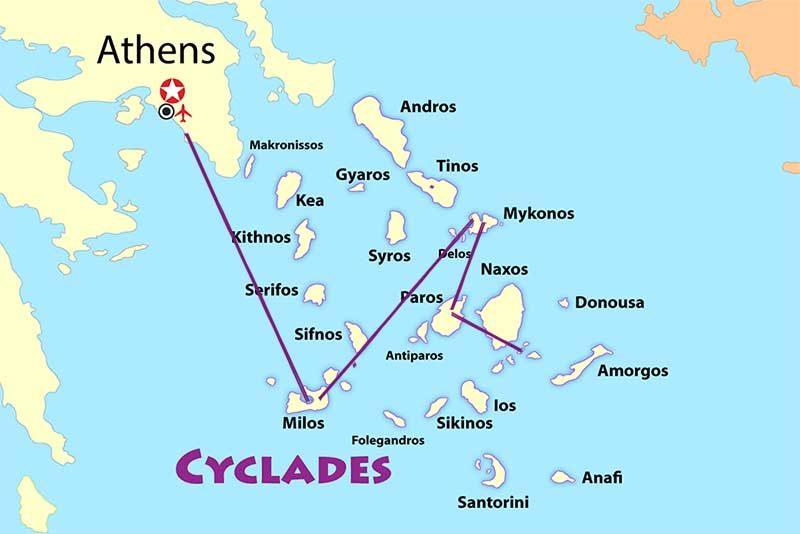 O mapa do nosso roteiro pelas ilhas Cícladesm na Grecia