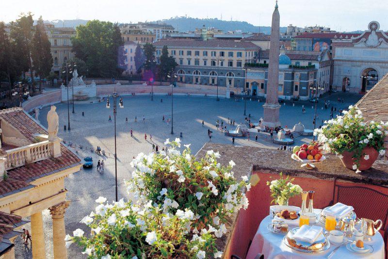 A vista de alguns quartos do Hotel de Russie dão pra Piazza del Popolo