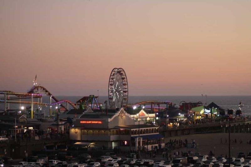 E o entardecer em Santa Monica, Los Angeles, mais imperdível ainda da roda gigante