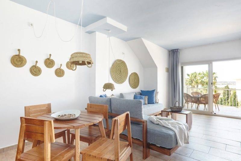 Hotéis em Formentera: espaço amplo dos apartamentos do Castaví.