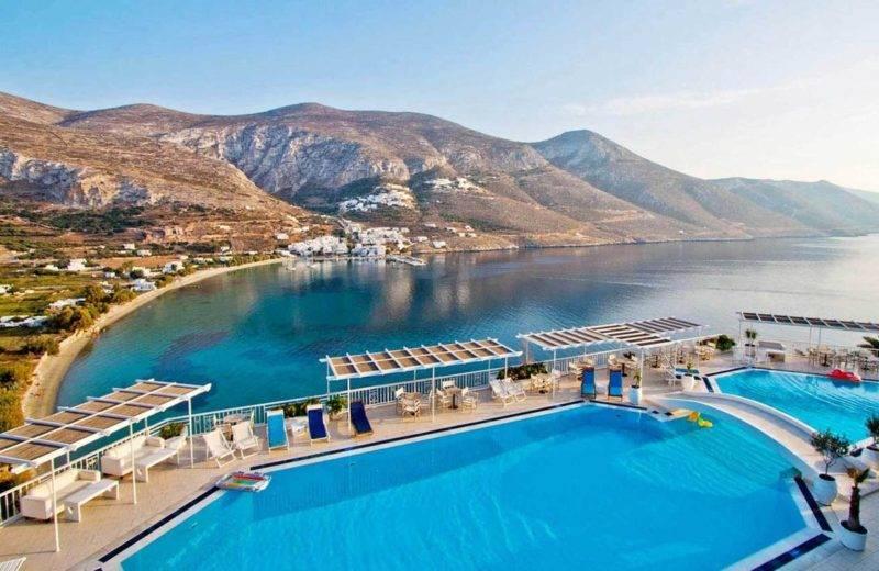 Onde se hospedar em Amorgos: Vista do Aegialis Hotel & Spa.