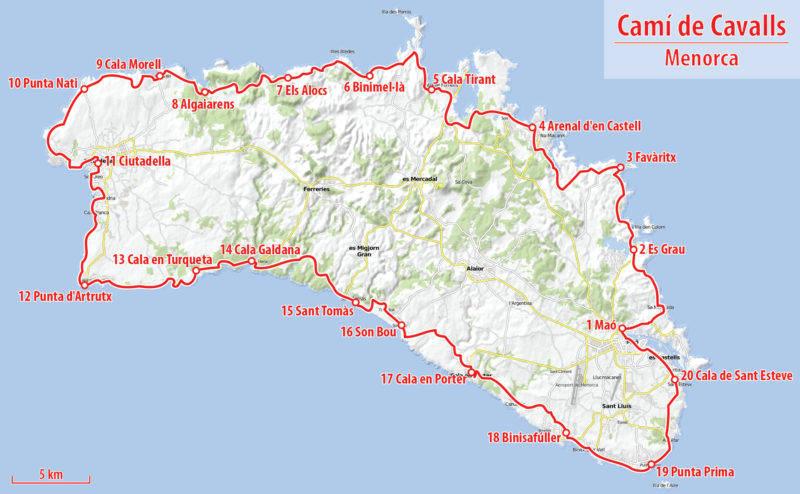 O Mapa do Camí de Cavalls de Menorca