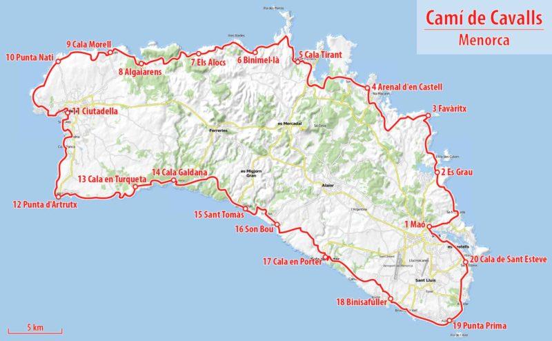 Mapa com as principais pontos de parada do Camí de Cavalls.