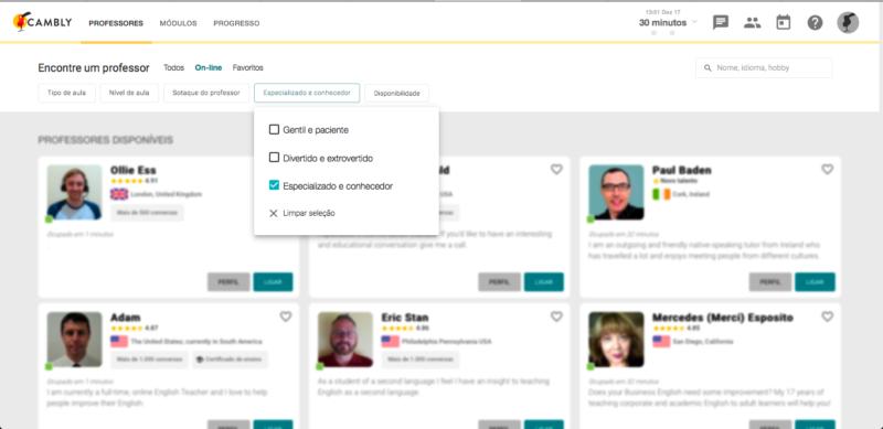 aulas de inglês online: até o estilo de professor é possível escolher na plataforma da Cambly