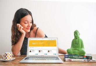 O site do Cambly, onde eu fiz a aulas de inglês online