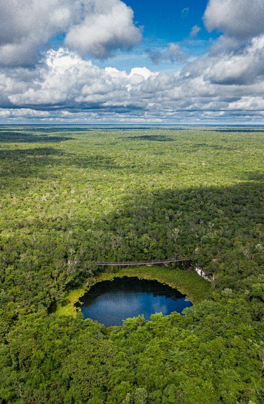 O primeiro cenote que avistamos. A imagem do drone mostra a imensidão da selva preservada