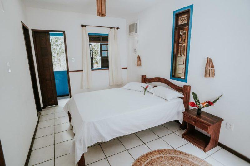 Onde ficar em Boipeba: quarto da pousada Vila da Barca.