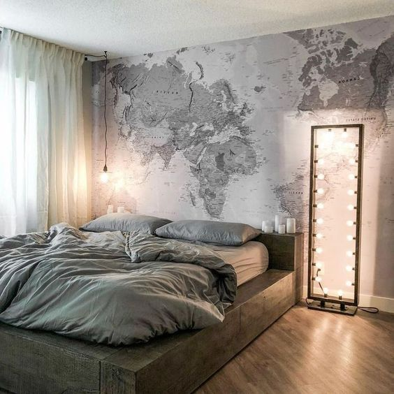 Inspirações de viagem: vale ocupar a parede inteira com o mapa, que pode ser feito sob medida