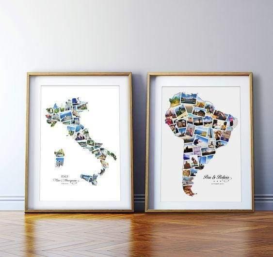 O quadro feito com fotos, que ganharam o formato dos países